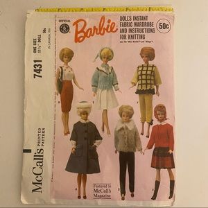 Vintage McCalls Barbie Clothing Sewing Pattern7431